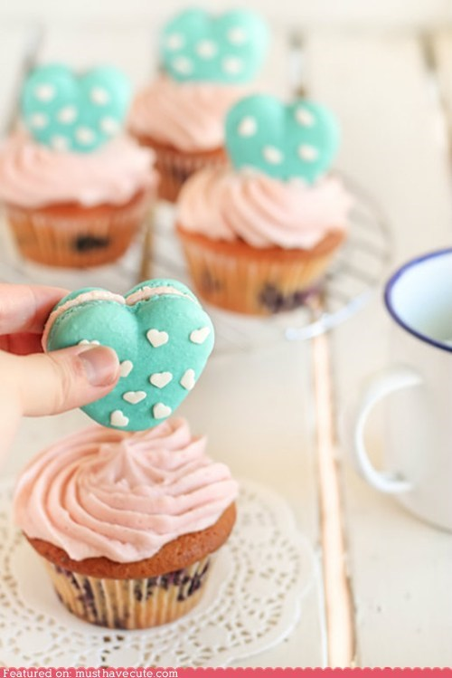 cupcakes epicute hearts macarons sprinkles turquoise - 6177286400