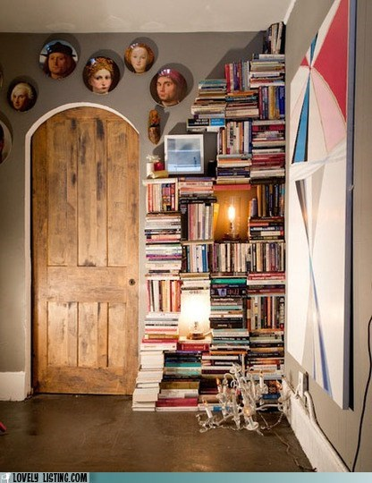 art,bookcase,faces,plates,portraits,threatening