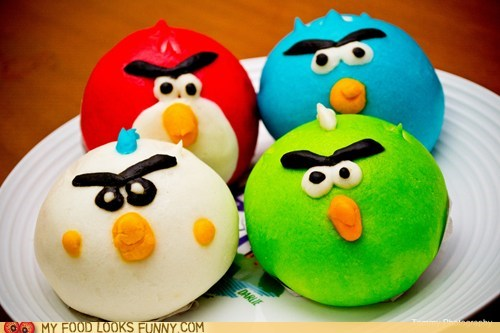 angry birds buns colorful sweets