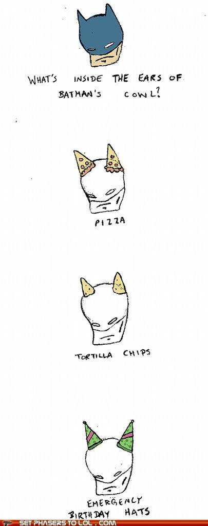 chips,comic,cowl,ears-bat,hood,party hats,pizza