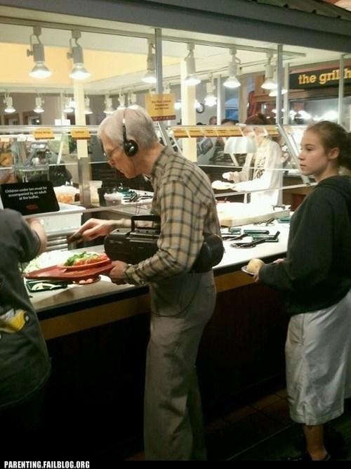headphones,lunch line,Music,old man