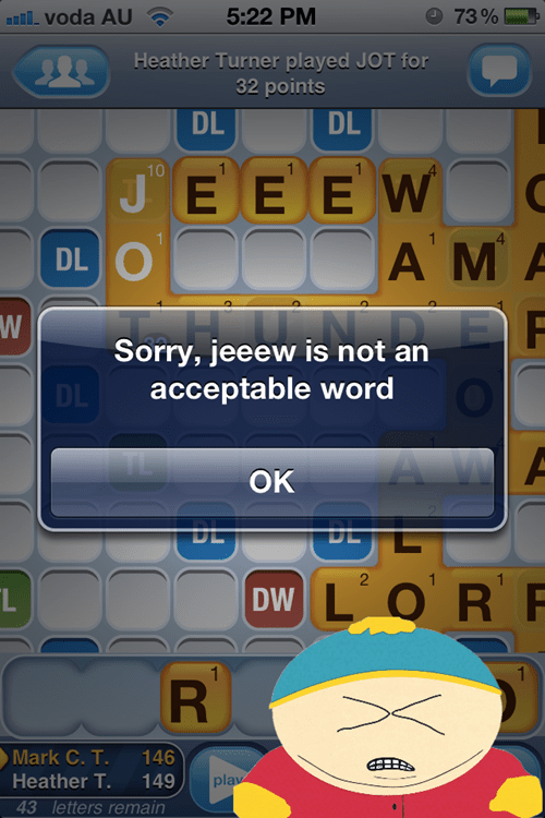 eric cartman,jews,South Park,Words With Friends