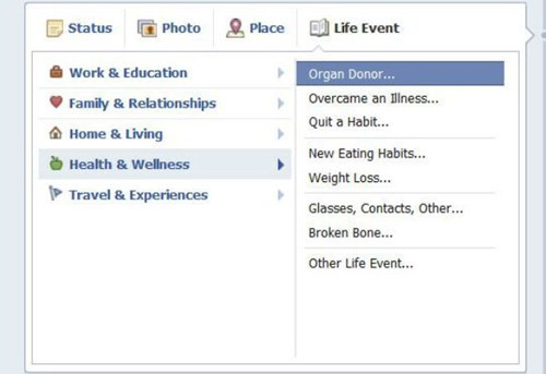 facebook,organ donation