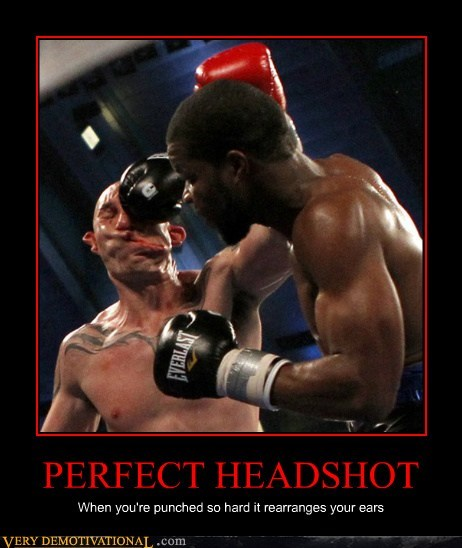PERFECT HEADSHOT When you're punched so hard it rearranges your ears