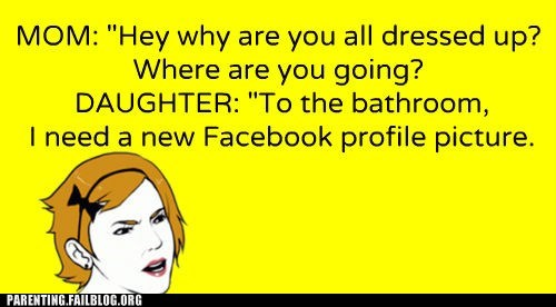bathroom daughter dressed up facebook profile picture mom