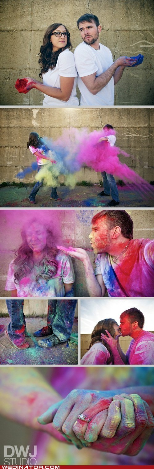 colors engagement photos fight funny wedding photos Hall of Fame