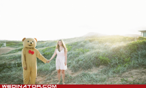 bear suit,engagement,funny wedding photos