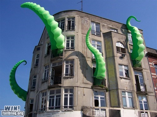 architecture,hacked irl,squid,Street Art,tentacle