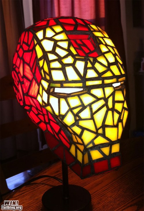 avengers,design,DIY,iron man,lamp,nerdgasm,stained glass