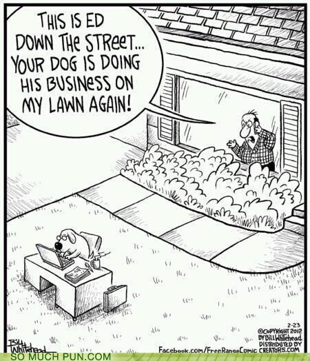 business dogs doing double meaning Hall of Fame lawn literalism - 6180445696