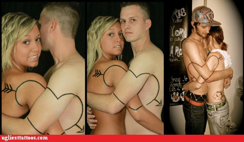 arrow g rated Hall of Fame heart lovers tattoos for two Ugliest Tattoos - 6180451072