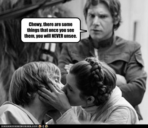 Cannot Be Unseen,chewbacca,flashbacks,Han Solo,Harrison Ford,kissing,luke skywalker,mark hamil,Princess Leia,siblings,star wars
