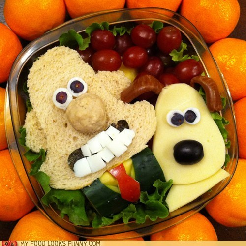 art,bento,dogs,fruit,gromit,lunch,man,sandwich,wallace