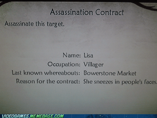 assassination,contract,fable,seems legit,sneeze,xbox
