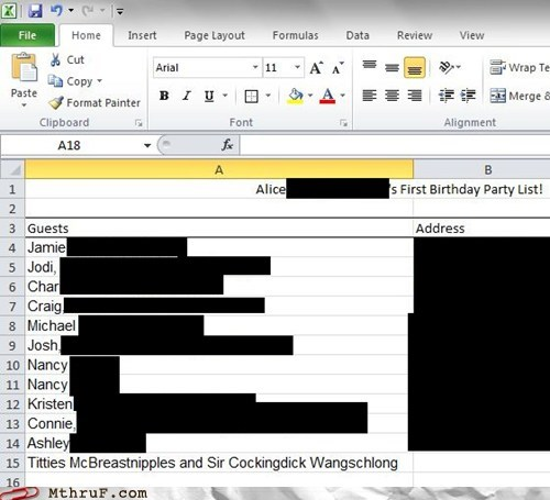 excel excel table guest list microsoft excel office prank Party prank - 6181008640
