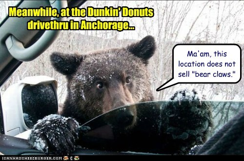 alaska,anchorage,bear,bear claw,car,donuts,drive thru,hurtful,offended