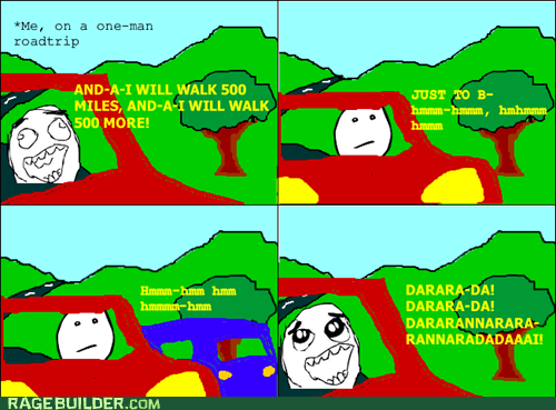500 miles car Rage Comics roadtrip singing