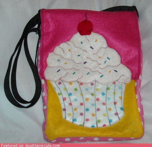 bag cupcake fabric purse - 6181922560