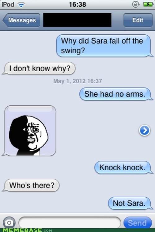 arms crey cry knock knock Memes oh god why sara - 6182156288