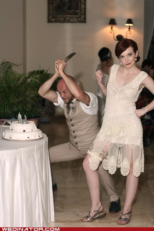 bride,cake,cake cutting,funny wedding photos,groom,knife