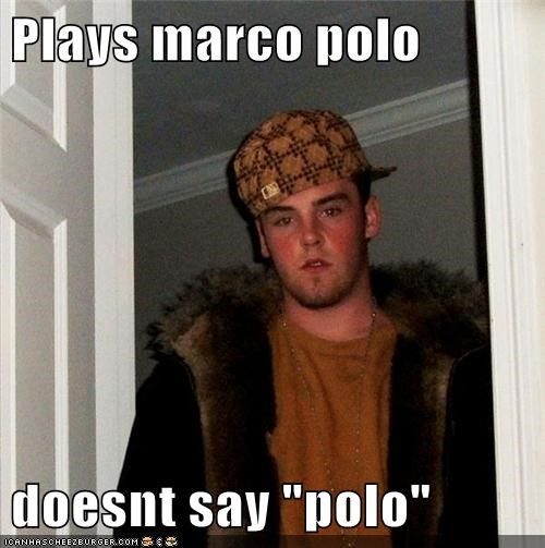 """Plays marco polo doesnt say """"polo"""""""