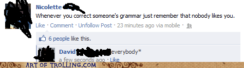 correction facebook forver alone grammar - 6182410496