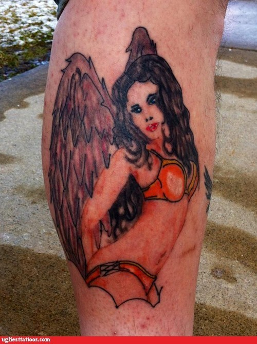 angel,sexy tattoo,underwear,wings
