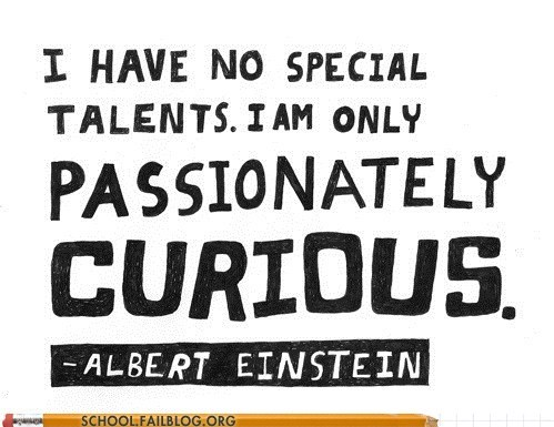 albert einstein,no talents,passionately curious,quotes