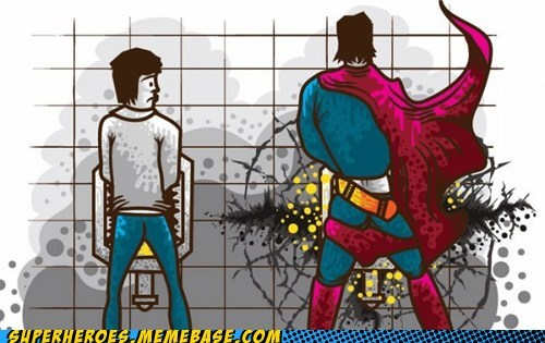 Awesome Art broken pee superman urinal - 6183235328