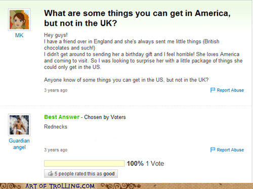 america rednecks UK Yahoo Answer Fails - 6183356160