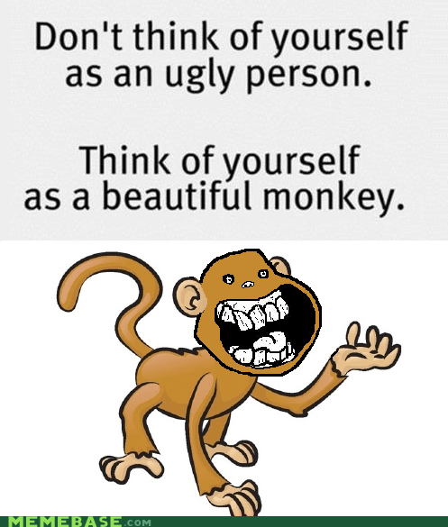 monkeys ugliness bananas puns evolution is a jerk beauty - 6183631360