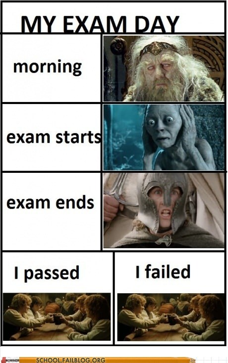 exam day,exam ends,failed,g rated,Lord of the Rings,morning,passed,School of FAIL