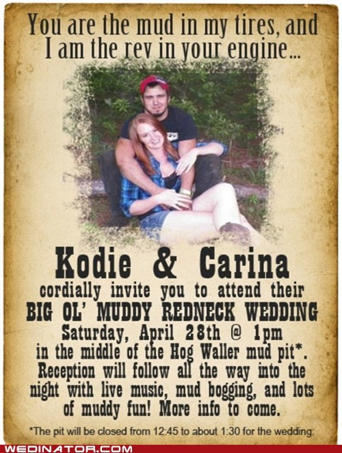 america funny wedding photos mud redneck Wedding Invitation - 6183941632