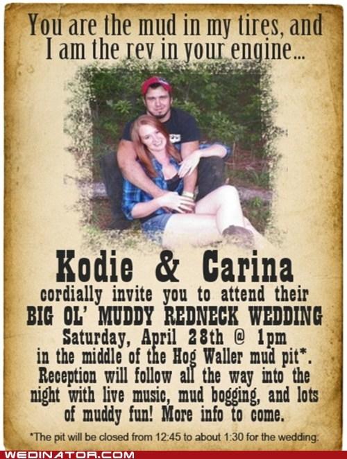 america funny wedding photos mud redneck Wedding Invitation - 6183941632