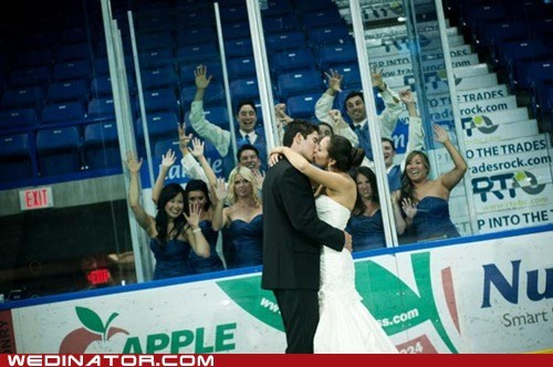 bride,funny wedding photos,groom,hockey,KISS