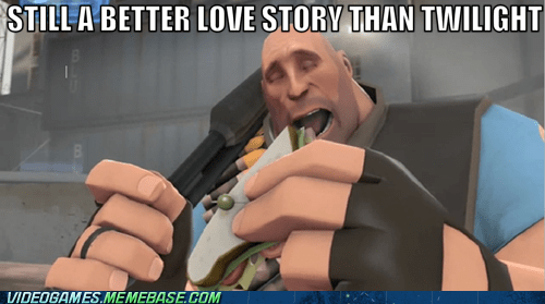 better love story than twilight,heavy,meme,sandvich,Team Fortress 2