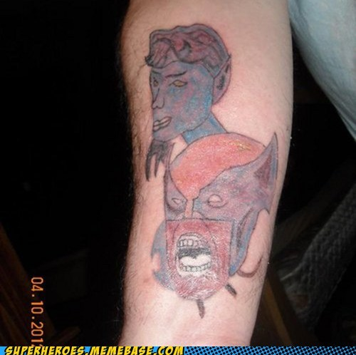 horrible nightcralwer Random Heroics tattoo wolverine