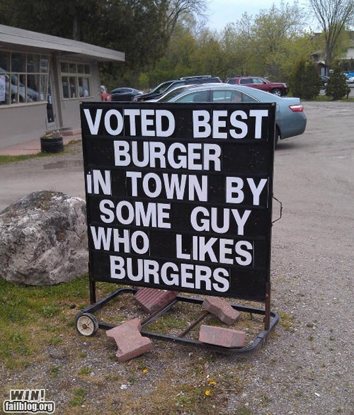 burger expert food sign true facts - 6184562176