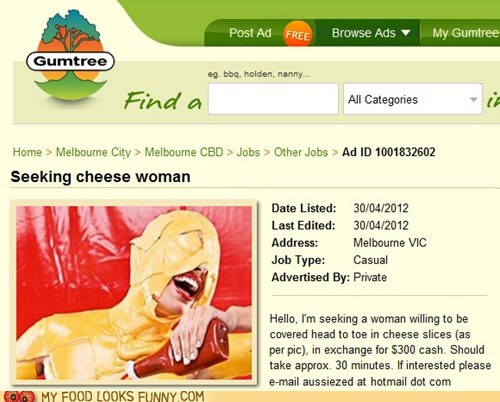 Ad,cheese,Fetish,gumtree,money,woman