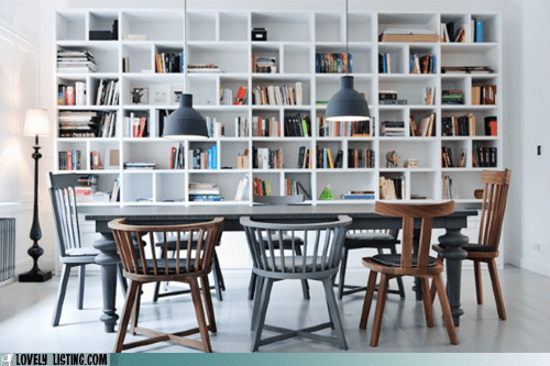 bookcase books chairs shelves table - 6184743168