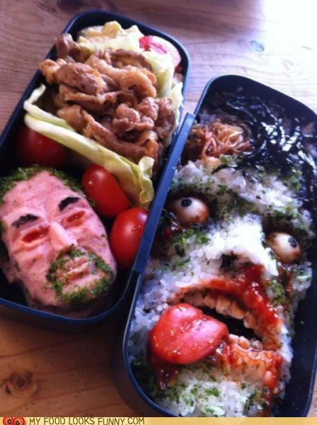 bento faces lunch meals rice scary - 6184881664