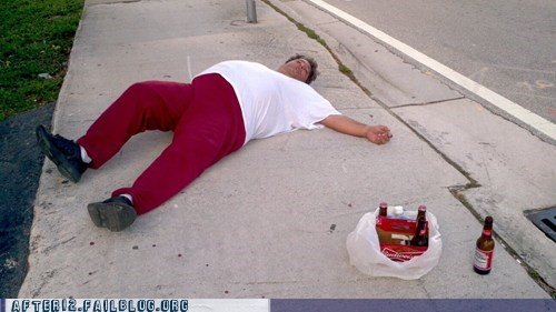blackout,budweiser,passed out,sidewalk,wasted
