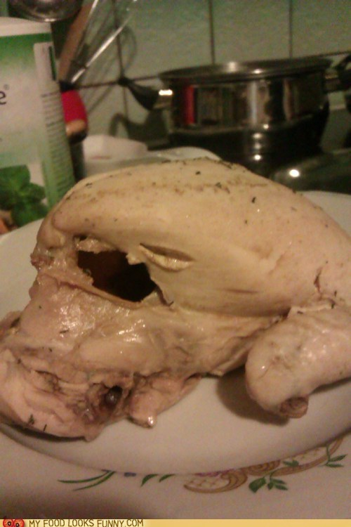 carcass chicken cooked face hole mouth scary - 6184956416