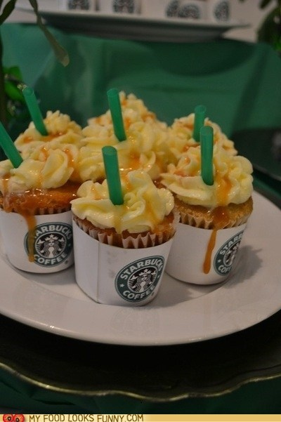 caramel cupcakes frappuccino frosting Starbucks straw - 6184971520