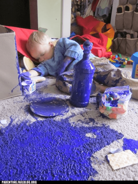 messy kids,paint,sleeping baby,stained carpet