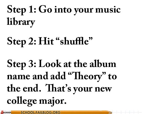 college major,music library,new major,shuffle,true calling