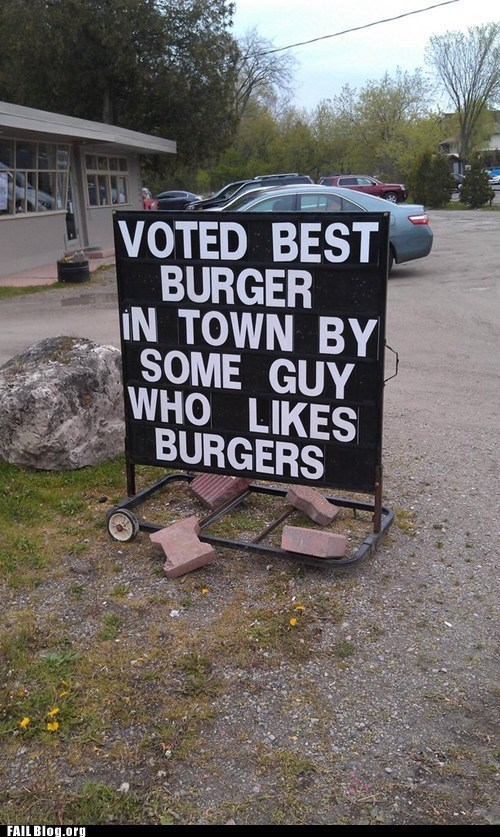 burgers restaurant sign voted best in town - 6185256704