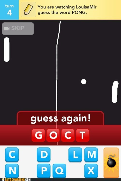 arcade games,draw something,guess again,pong,wrong guess