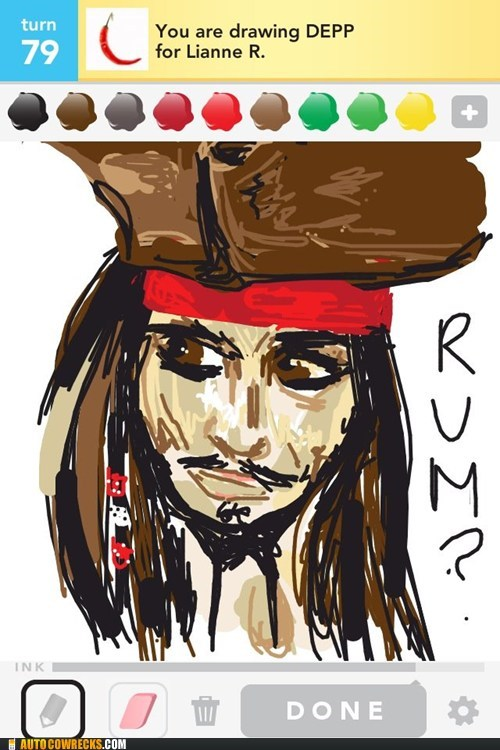 draw something jack sparrow Johnny Depp Pirates of the Caribbean - 6185455104