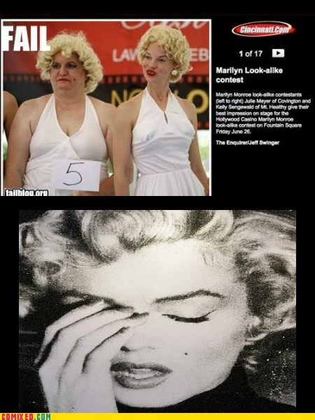 facepalm,lookalike,marilyn monroe,news,the internets